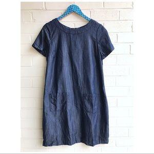 Boden Verity Chambray Pocket Shift Zip Back Dress